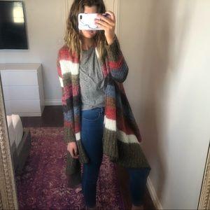 Striped Multi-Colored Drapey Cardigan Sweater